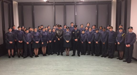 209 (West Bridgford) Squadron of the Air Training Corps with their Australian visitors Flying Officer Matthew Glozier and Flight Lieutenant David Roach
