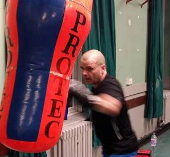 Lee Wilson taking part in boxing training