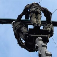 Taking part in the high rope exercise