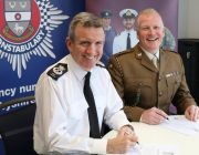 Signing the Armed Forces Covenant in Derbyshire Chief Constable Mick Creedon QPM and Lieutenant Colonel David Dawber TD DL