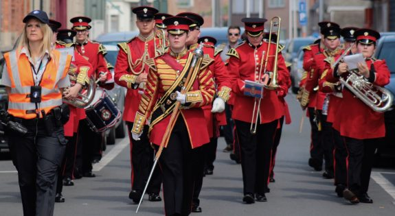 The combined Band of Lincolnshire and Derbyshire Army Cadet Force  in Belgium