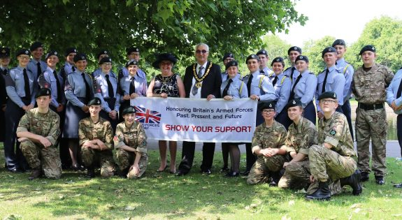 Cadets, adult volunteers and council representatives after the event