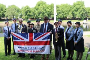 Council representatives with cadets at the flag raising event