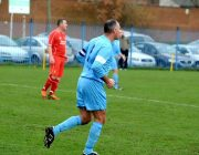 Scott Taylor taking part in a RAF Vets football match against Liverpool FC Vets