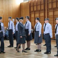 The Air Commodore talked to a number of cadets on parade