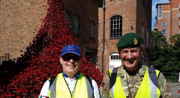 Open Day organisers Steve Rogers, the Mickleover RBL Chairman and Major Bruce Spencer on thier recent sponsored walk