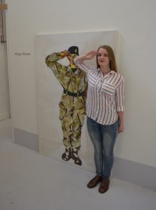 Private Megan Brown with her artwork