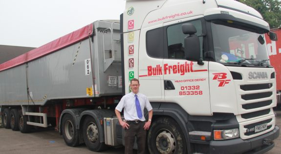 Andy Disney of the Fred Sherwood Group at their Bulk Freight subsidiary in Castle Donington full truck