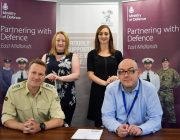 Pictured from left are Lt Col Andrew Parker, Laura Mills and Catherine Suckling from the EMRFCA Employer Engagement team and Total Motion Managaing Director Simon Hill
