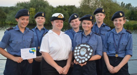 Becky Carter with cadets from the Nottingham unit