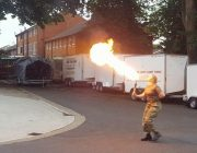 Cadet Sergeant Elizabeth Train Brown fire breathing.