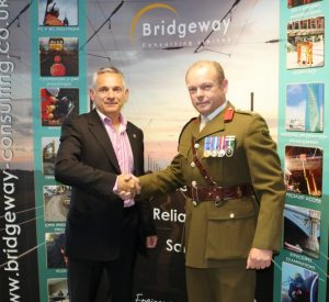 Managing Director Pino de Rosa and Col Peter Fisk at Bridgeway Consulting's HQ in Nottingham
