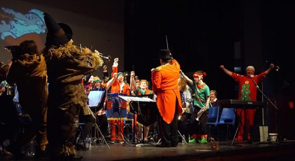 Derbyshire ACF band on stage in 2016  in fancy dress