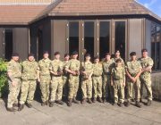 Lincoln Royal Marine cadets with the Gibraltar cup they won last year