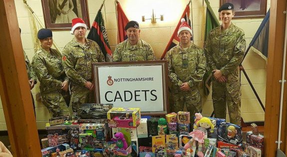 Members of Nottinghamshire ACF with some of the gifts they donated