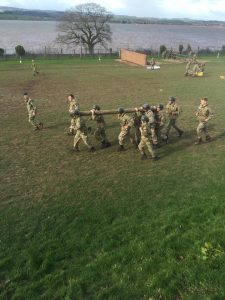 Members of the Lincoln Royal Marine Cadets participating in a teamwork exercise