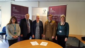 (l r) Helen Raisbeck, Ifti Majid, Caroline Maley, LtCol Duncan Jenkins, and Catherine Parker.
