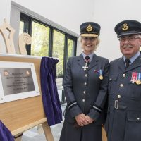 Air Commodore Dawn McCafferty and Squadron Leader Ian Marshall after she unveiled the plaque