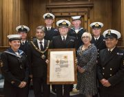 Reservists from HMS Sherwood with the Sherrif of Notitngham and Lord Mayor of Nottingham after the scroll presentation