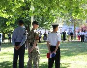 Cadets taking part in the flag raising event