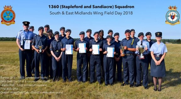 1360 (Stapleford and Sandiacre) Squadron with thier trophies and certificates