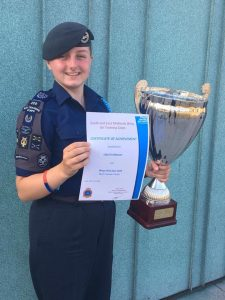 Cadet Warrant Officer Rebekah Oldknow with her Best Female Cadet trophy.