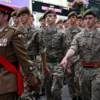 Cadets joined in with a parade through the centre of Northampton