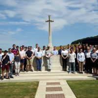 Officer Cadets visitng a memorial near the Somme on their annual exercise