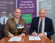 Colonel Adam Fraser Hitchen and Trust Chief Executive Simon Morritt