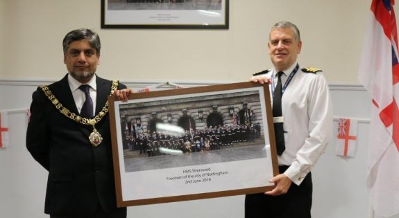 The Lord Mayor of Nottingham, Councillor Liaqat Ali and HMS Sherwood's Commanding Officer, Commander Rob Noble