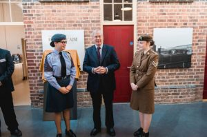 Cadet Sergeant Jade Duce and Cadet Flight Sergeant Melissa Doody with HRH The Duke of Gloucester. Please credit image to Eve Hopkinson