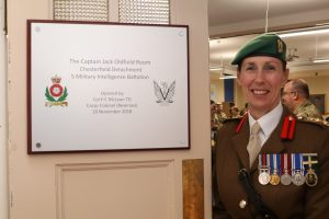 Colonel P C McLean after opening the new ops room