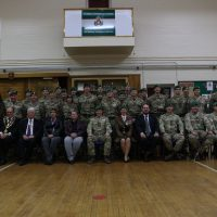 The reserve detachment with Intelligence Corps Officers and local dignatires