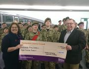 Glossop Detachment reciving the cheque