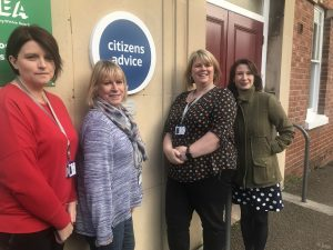 Victoria with the Citizens Advice Bureau Team
