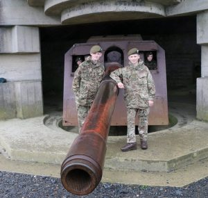 LCpl Elwell (right), with LCpl Lewsey next to some coastal artillery