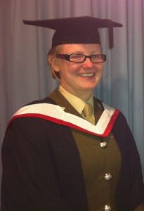 Maria graduating from her City and Guilds Licenciateship