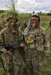 Juliet Rogers and a Cadet on a fieldcraft exercise.