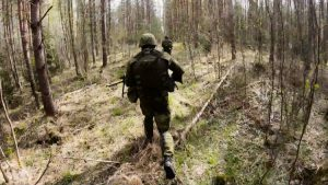 Troops on Exercise Iron Wolf in forest in Lithuania