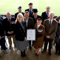 Representatives of Leicester Tigers and the Uniformed Services.