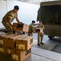 Army load truck with NHS supplies