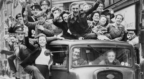 Citizens celebrating VE Day 75 years ago (Credit: Imperial War Museum)