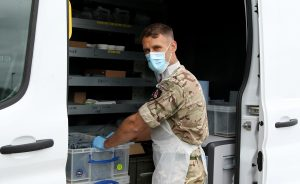 Lance Corporal Liam Bee at the coronavirus testing centre