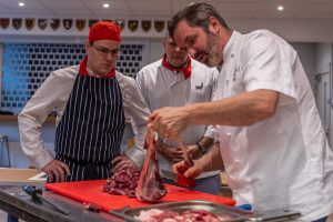Chef demonstrating venison butchery