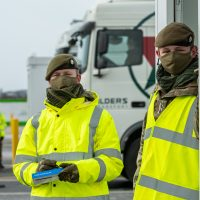Privates Jack Bramford and Ollie Wilson from Leicester at the haulier COVID testing site at Sevington in Kent