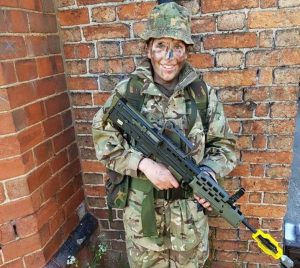 Cadet Cerys Aplin practices shooting on annual camp