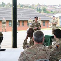Deputy Commander Field Army, Celia Harvey, addresses returning Op CABRIT soldiers