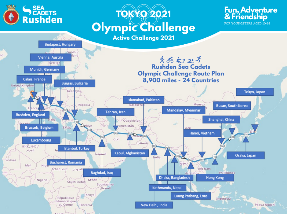 Rushden Sea Cadets Olympic Route