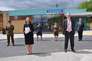 Representatives of United Lincolnshire Hospitals NHS Trust outside the main entrance
