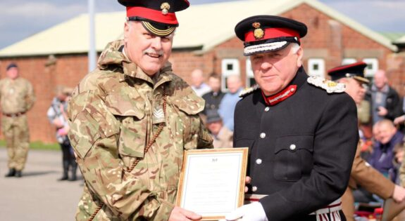John Gooding with Lord Lieutenant Toby Dennis in 2016